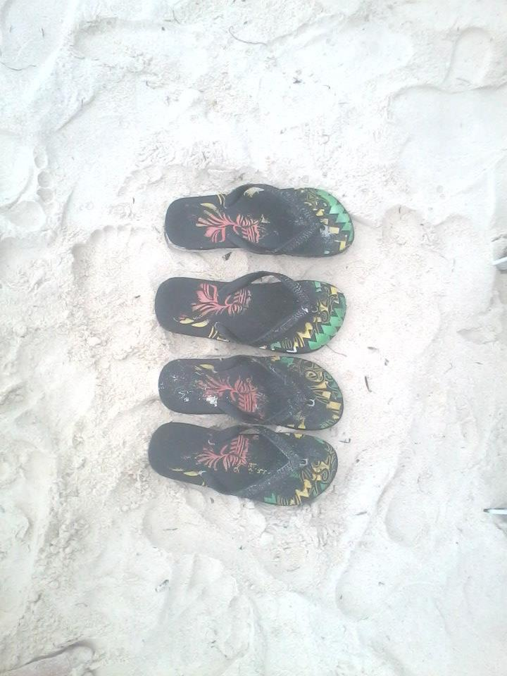 barefoot's fun while roaming the white sand